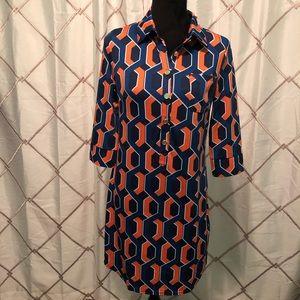 Blue and orange dress